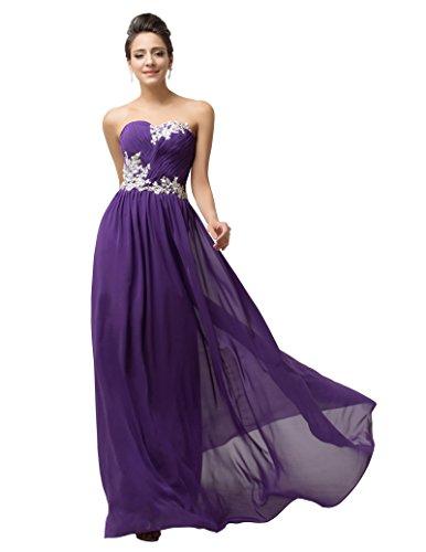 damen braut kleid herzförmig chiffon kleid abendkleider ballkleider lang promkleid Größe 44 CL6107-5 (Hochzeit Party Kleid Abendkleid)