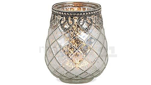 matches21 Windlicht Teelichtglas Kerzenglas Orientalisch Silber antik Glas/Metall Vintage - 3 Größen zur Auswahl - 10 cm