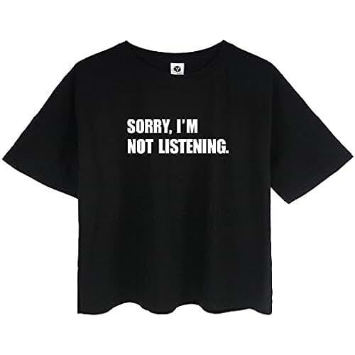 ropa kawaii para los mas guays HappyGo Mujer Camisetas Verano Redondo Mezcla de Algodón Linda Casual Manga Corta Moda Crop T-Shirt Blusas Tops