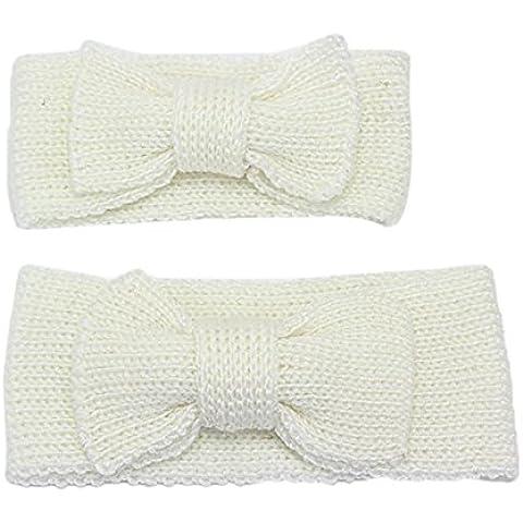 TININNA Autunno e Inverno Caldo Carino lana a maglia crochet Bowknot Madre e Figlio Accessori per capelli Fascia per capelli Copricapo Hairband Cerchietti Turbante