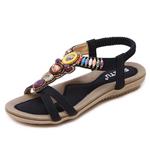 Zoerea sandali da donna da estate pu cuoio bassi sandali elegante bohemia perline decorate