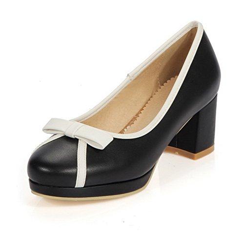 AgooLar Damen Gemischte Farbe Pu Leder Mittler Absatz Rund Zehe Ziehen Auf Pumps Schuhe Schwarz