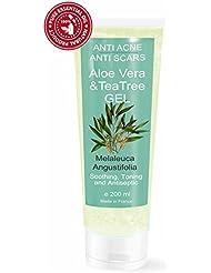 Gel Hydratant à l' Arbre à Thé ( huile de théier) et Aloe Vera 200 ml - 100% Natural Hydratant Facial et Corps Unisex