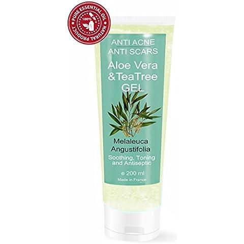 Gel de Aloe Vera con Árbol de Té 200 ml - S.O.S. Piel Seca y Dañada, Quemaduras - Unisex Hidratante y