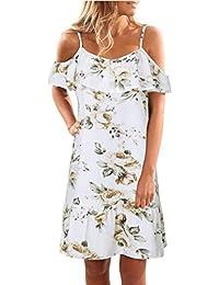 Janly® Women Summer Floral Ruffles Dress Off Shoulder Strappy Mini Dress Beach Party Dresses Plus