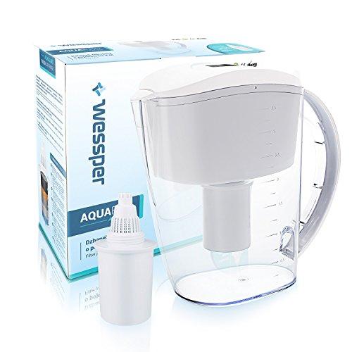 Wessper Alkalischer Wasserfilter, Wasserfilterkrug, mit 1 Alkalischer Filterkartusche (Kompatibel mit Brita Marella XL) 3,5L - weiß