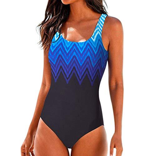 Lazzboy Damen Badeanzug Push Up Bikini Badebekleidung Bauchweg Figurformend Große Größen Sportlich Bademode Strandmode Farbverlauf Kreuz Rückseite Einteiler Swimsuit S-XL(Schwarz,XL) -