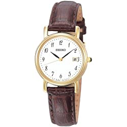 Ladies Women's Gold Tone Seiko Quartz Battery Watch on Brown Leather Strap with Date. SXDA14P1