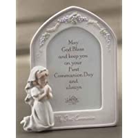 8.25 Girl Bisque Communion Frame Valencia holds 4 x 6 photo by Roman by Church supply Warehouse