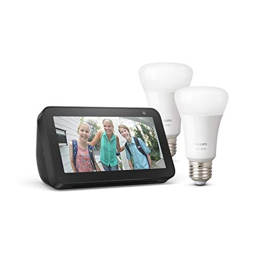 Echo Show 5, Noir + Philips Hue White Pack de 2 ampoules LED connectées (E27), compatibles avec Bluetooth et Zigbee (aucun hub requis)