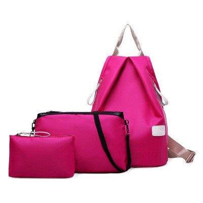 Preisvergleich Produktbild Meaeo Neuen Handtasche Modische Handtasche Damen Rucksack Wasserdicht Nylon Drei Stück, Rose Rot