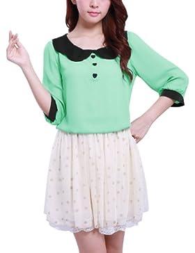 Allegra K Blusa Para Mujeres Pullover Cuello de Peter Pan Diseño Sin Patrones