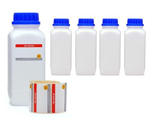 Octopus 5X 1000 ml Weithalsflaschen mit Schraubverschluß, Chemiekalienflaschen, Laborflaschen mit Deckel als Aufbewahrungsbehälter für Labor, Küche oder Hobby (Blauer Octopus-becher)