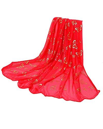Auxo Elégant Femmes Papillon D'or Long Foulard Chaud Wrap Châle Broderie Etoles Doré Rouge Pastèque