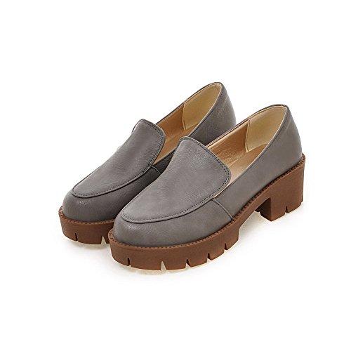 VogueZone009 Femme Couleur Unie Matière Souple à Talon Correct Rond Tire Chaussures Légeres Gris