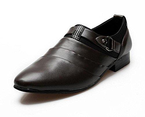 SHIXR Herren Casual Schuhe Britische Spitz Leder Schuhe Haar Stylist Jugend Trend Erhöhung Schuhe Hochzeit Schuhe Weiß Schwarz Braun Brown