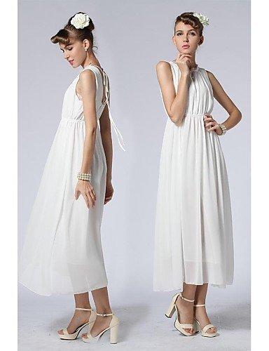 PU&PU Robe Aux femmes Ample Vacances / Plage , Couleur Pleine Col Ras du Cou Maxi Mousseline de soie GREEN-XL