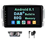Système d'autoradio Android 8.1 Dab+ (Buil-in) pour Mercedes-Benz Classe C W203/CLK-W209/C209/Viano&Vito W639/A-W168 8' 80 G ROM GPS Navigation Bluetooth Volant Commande