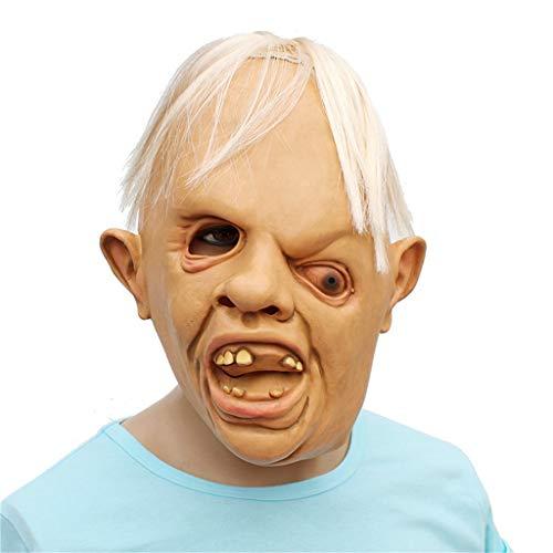 Mann Latex Kostüm Spider - ToDIDAF Halloween Maske Vollkopfmaske mit Weißem Haar Latex beängstigend Toothy Einäugige Person Maske Gruselige Maske des Grauens, Cosplay Halloween-Kostüm für Karneval Maskerade Party Dekoration
