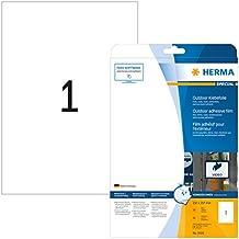Herma 9500 Outdoor Klebefolie wetterfest (Format DIN A4, 210 x 297 mm, Folie, matt, extrem stark haftend) 10 Stück auf 10 Blatt, weiß, bedruckbar (Druckereignung beachten)