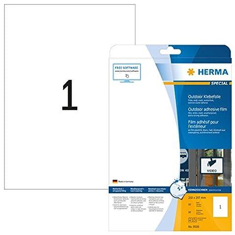 Herma 9500 étiquettes film adhésif outdoor 210 x 297 A4 10 pièces Blanc