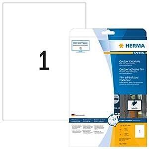 Herma 9500 Outdoor Klebefolie wetterfest (DIN A4 Format, 210 x 297 mm, Folie matt, weiß ) 10 Stück auf 10 Blatt, extrem stark haftend, bedruckbar