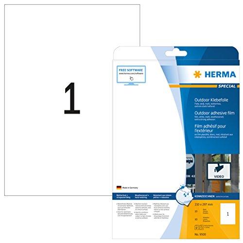 Herma 9500 Wetterfeste Outdoor Klebefolie (Format DIN A4 210 x 297 mm) weiß, 10 Etiketten, 10 Blatt Folie matt, bedruckbar, extrem stark selbstklebend