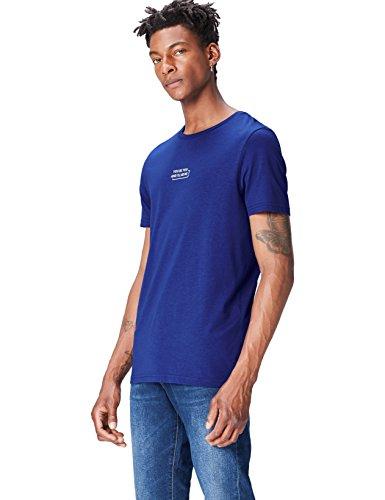 FIND Camiseta con Estampado de Eslogan para Hombre, Azul (French Blue/white), Medium