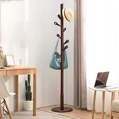 Haya capa rack piso dormitorio percha simple sola pole Hall sala de estar percha de madera percha de ropa disponible en dos colores,Brown