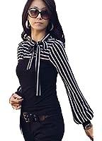 Japan Style von Mississhop Damen Boho Style Bluse Tunika Longshirt gestreift mit Schleife