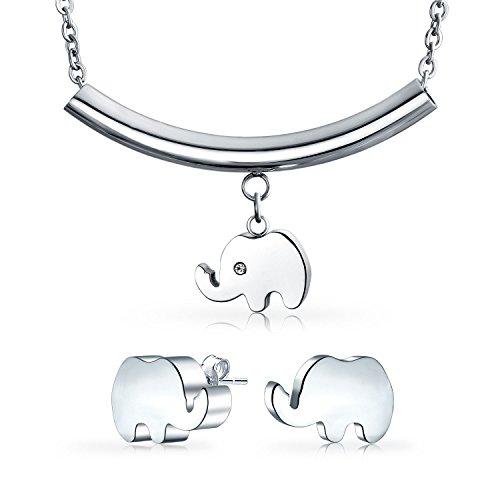 Bling Jewelry Animales Zoo Suerte Collar Colgante Elefante Stud Juego Joyas para Adolescentes, para Mujer Acero Tono Plata