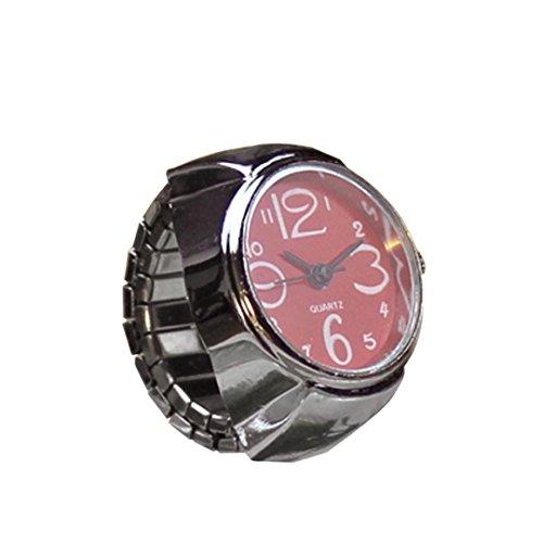 Damen Mädchen Fashion Finger Ring Armbanduhr Mingfa Creative Analog Quarz Armbanduhr Statement Verlobungsring Hochzeit Jahrestag Ring Verstellbar, Legierung, Rot, 50,80 cm (Kostüm Schmuck Ringe Engagement)