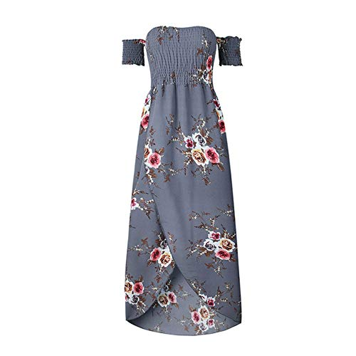 FeiXing158 Trägerloses Maxikleid 7 Farben 5XL Plus Size Boho Strandkleid Sommer Sommerkleid Blumendruck Lange Kleider (Mouse-mini-cutter Mickey)