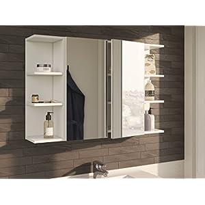 HABITMOBEL – Conjunto Camerino con Espejo con 2 Muebles esquineros en Cada Lado, Dimensiones totales; 100cm Ancho x 65cm…