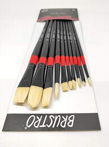 Brustro Artists White Bristle Set of 10 Brushes for Oil and Acrylic.