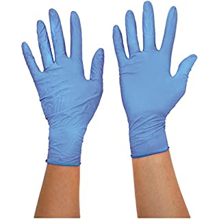 Ansell TouchNTuff 92-670 Nitrile gloves, chemical & liquid protection, Blue, Size 8.5-9 (Box of 100 gloves)