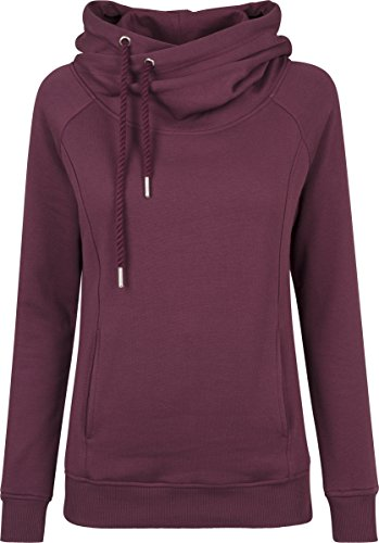 Urban Classics Damen Kapuzenpullover Ladies Raglan High Neck Hoody, Rot (Cherry 1151), X-Large (Hoodie Womens Baumwolle Long)