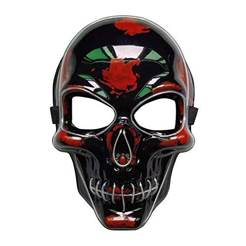 Mädchen Nicht Kostüm Scary - Hete-supply 2019 Halloween Leuchtende Maske, Geisterkopf Maske, LED Leuchtmaske für Festival Cosplay Halloween Kostüm, Leuchtende EL Draht Maske, Horror Skeleton Maske