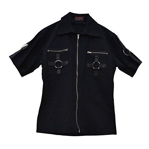 Zoelibat 14099905.008M -Herren Gothic Steampunk Kurzarm Hemd mit Zippern und Metall  - Gr. M schlank, schwarz