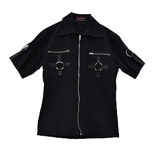 Camisa de manga corta celibato 14099905.008M -Men gótica de Steampunk con cremallera y metal - Gr. M delgado negro