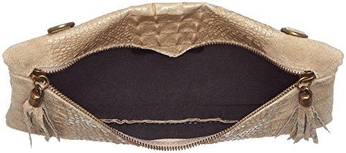 CTM Pochette da donna, borsetta a spalla in vera pelle made in Italy - 29x19x2 Cm Fango