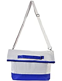 Rhombus Slate Blue Natural Canvas Foldover Laptop Bag