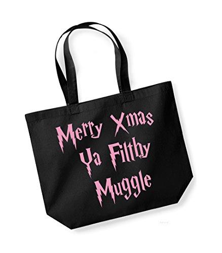 Merry Xmas Ya Filthy Muggle - Large Canvas Fun Slogan Tote Bag Black/pink