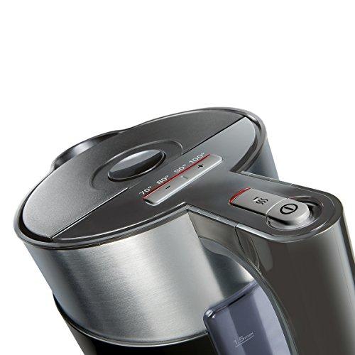 Siemens TW86103P Wasserkocher sensor for senses mit Edelstahlapplikation, 2400 W, 1,5 L, schwarz / anthrazit - 5