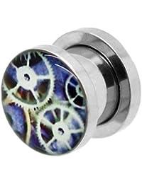 tumundo 1 Pieza o Kit Túnel Dilataciones Acero Inox Pendientes Piercing Expansor Aparato de Relojería Clock