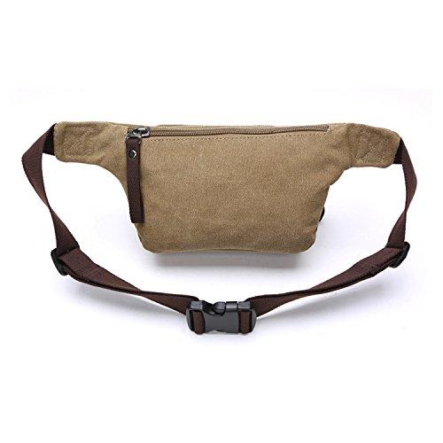 Outreo Hüfttaschen Herren Gürteltasche Kleine Tasche Sporttasche Outdoor Bauchtasche Sport Bag Geldbeutel Vintage Brusttasche Reisetaschen Canvas Trinkgürtel Beige