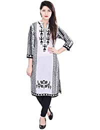 Beautiful Cotton Printed White&Black Kurti