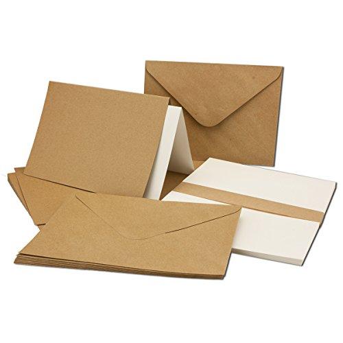 Kraftpapier-Karten DIN B6 inklusive Briefumschläge & Einlegeblätter - 50er-Set - Blanko Recycling Einladungskarten in Braun - bedruckbare Postkarten