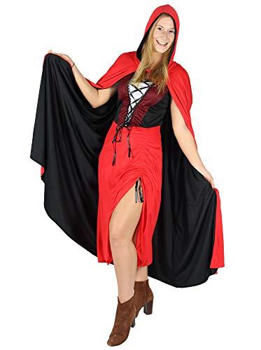 Foxxeo Rotkäppchen Halloween Kostüm für Damen Wolf Jägerin Halloweenkostüm rot , ()