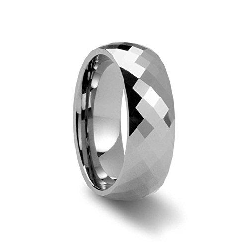NELSON KENT Herren Damen 8MM Breite Wolframstahl -Farben-Großverkauf -Silber-Ring Größe65(20.7)
